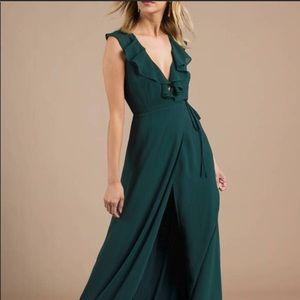 Emerald green maxi wrap dress